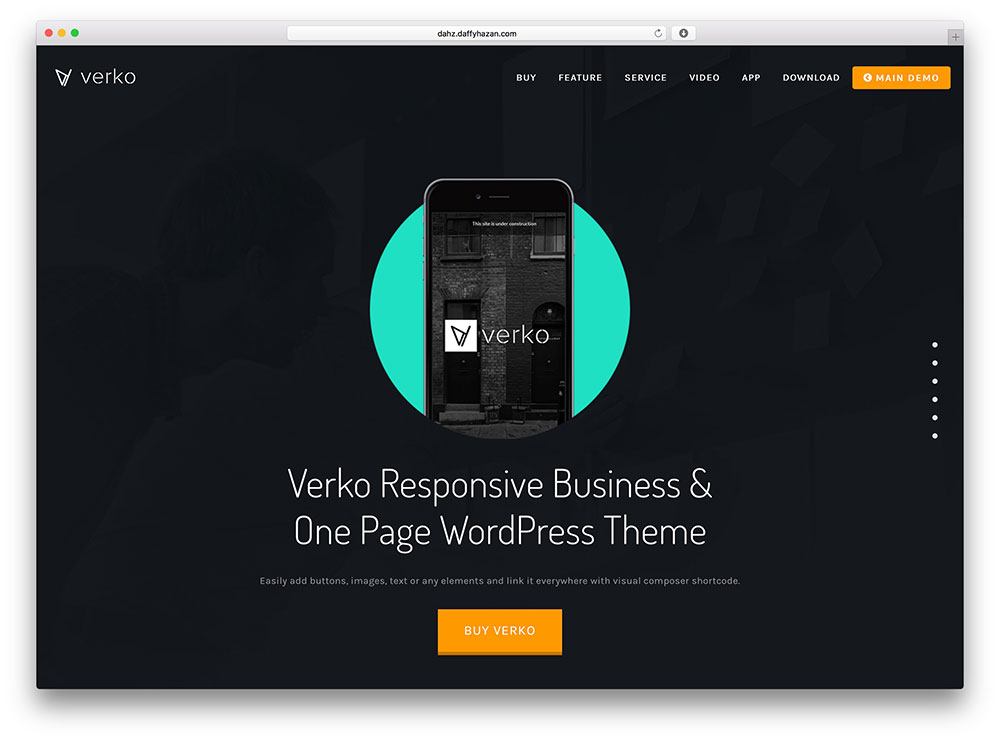 verko - dark one page business theme