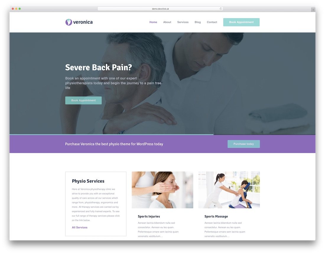 veronica physiotherapy chiropractor wordpress theme