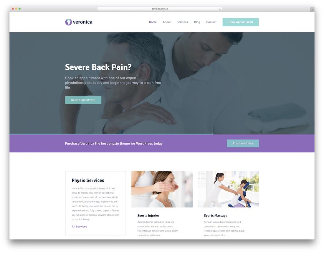 veronica physiotherapy chiropractor wordpress theme
