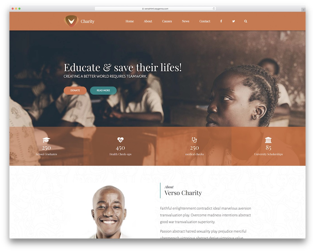 verso html charity website template