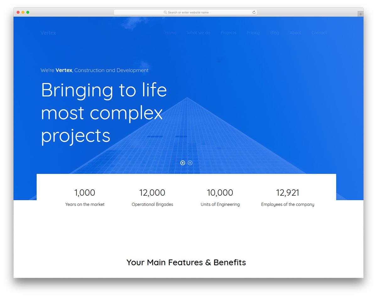 Скачать бесплатно html шаблон Vertex