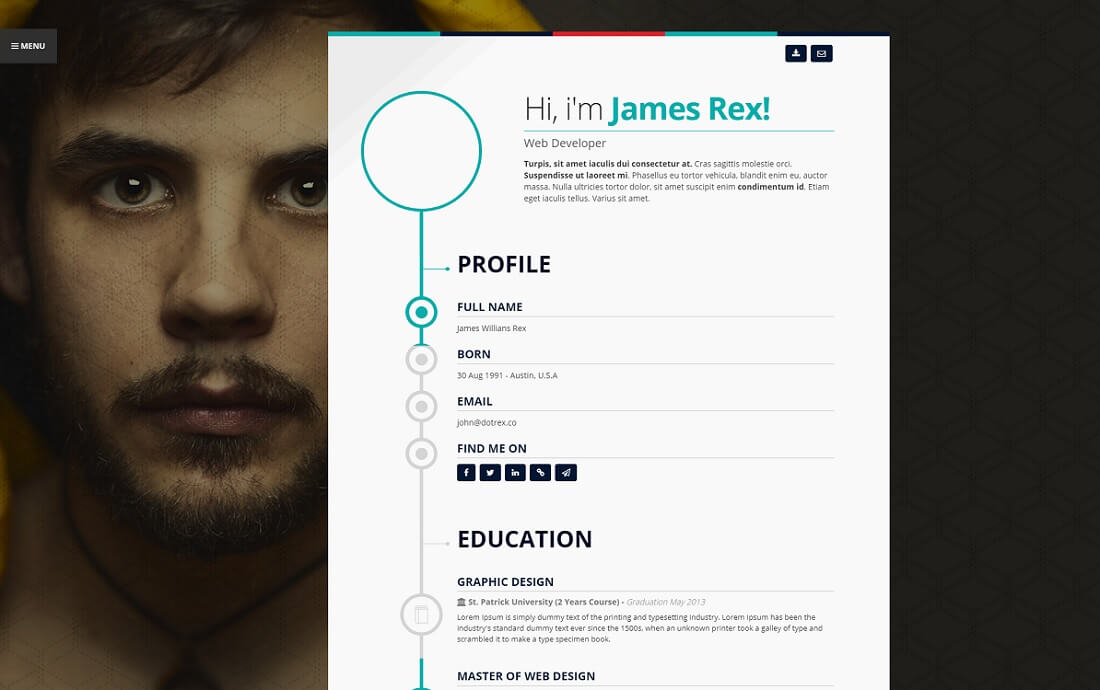 vertica html resume cv website template - Resume Web Template