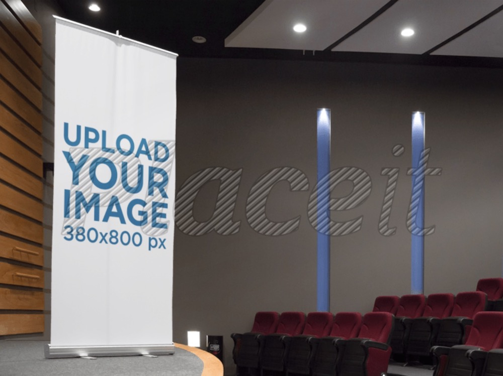 vertical banner mockup in an auditorium stage
