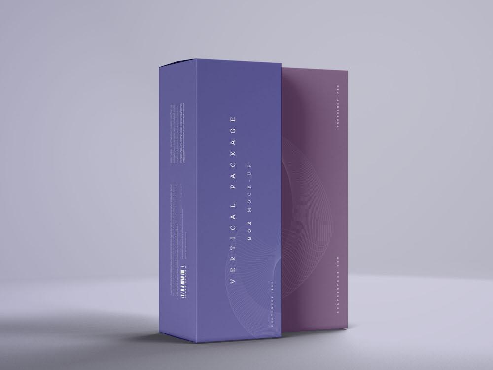 maquette de paquet de boîte verticale