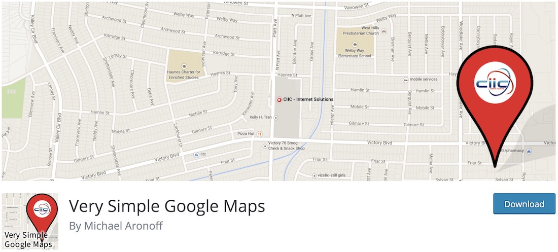 very simple google maps wordpress plugin