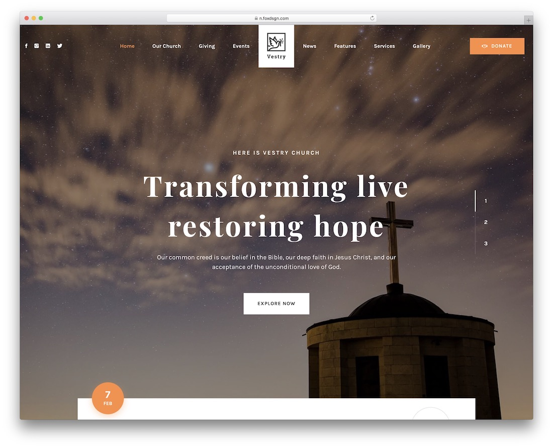 vestry church wordpress theme