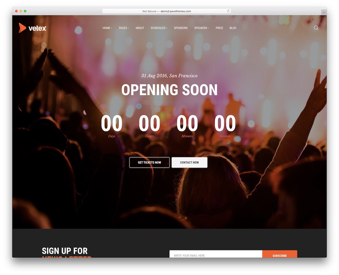 vetex coming soon wordpress theme