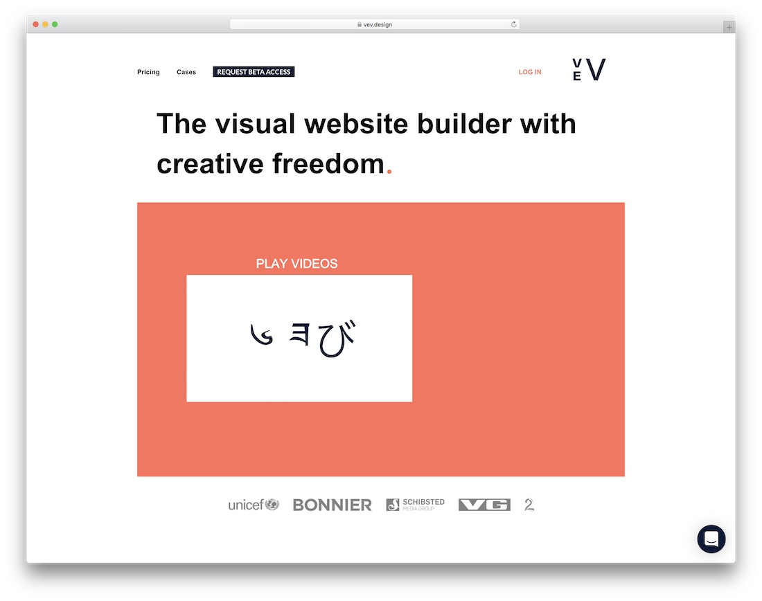 vev website builder for designers