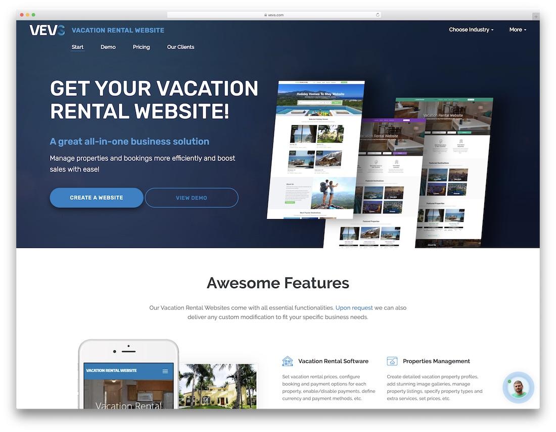 vevs hotel website builder