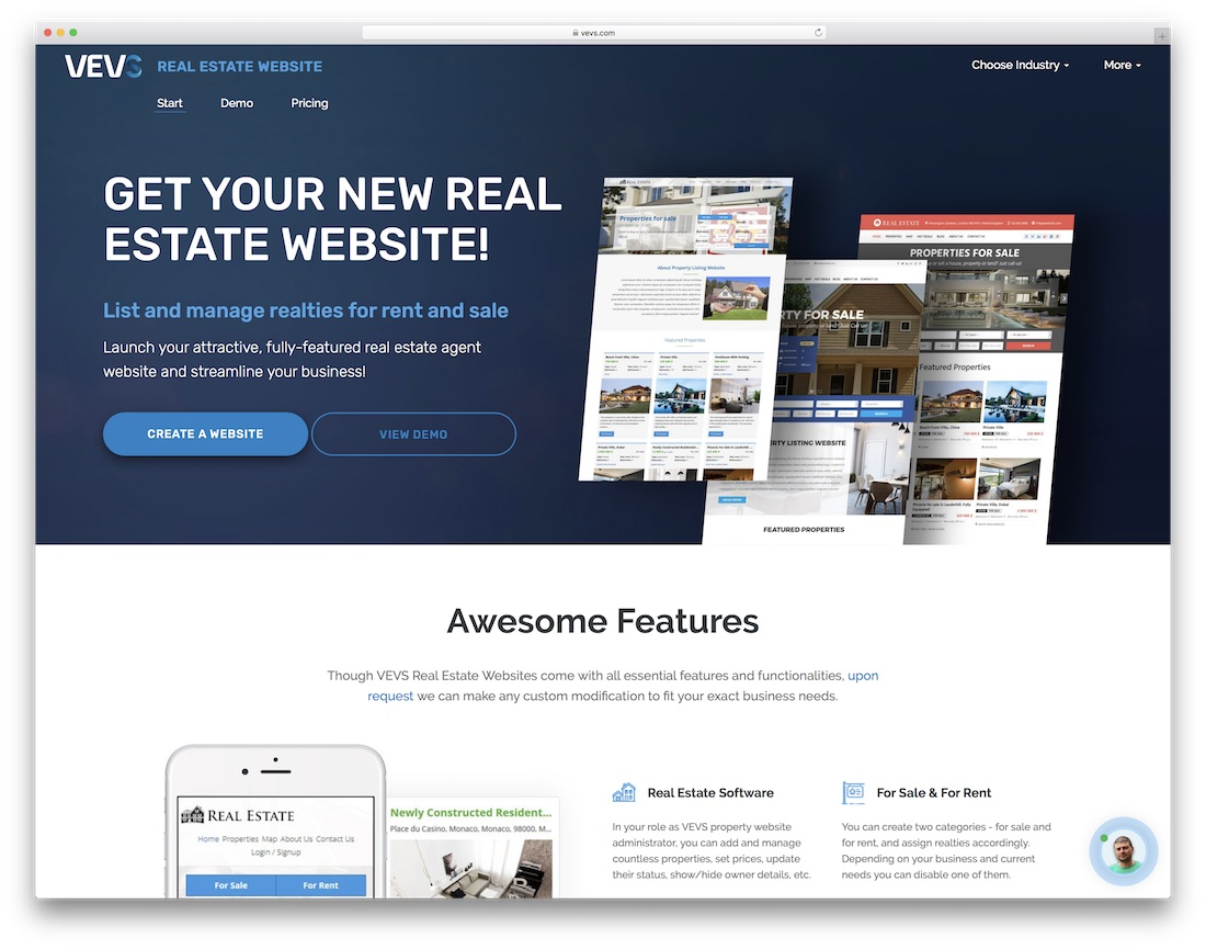 vevs real estate agent website builder