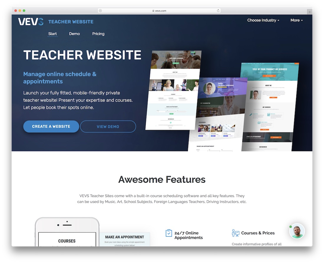 vevs school and teacher website builder