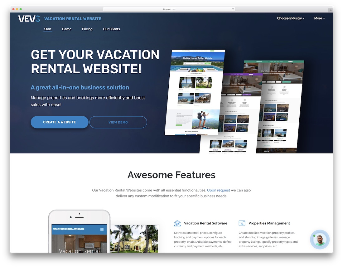 vevs travel agency website builder