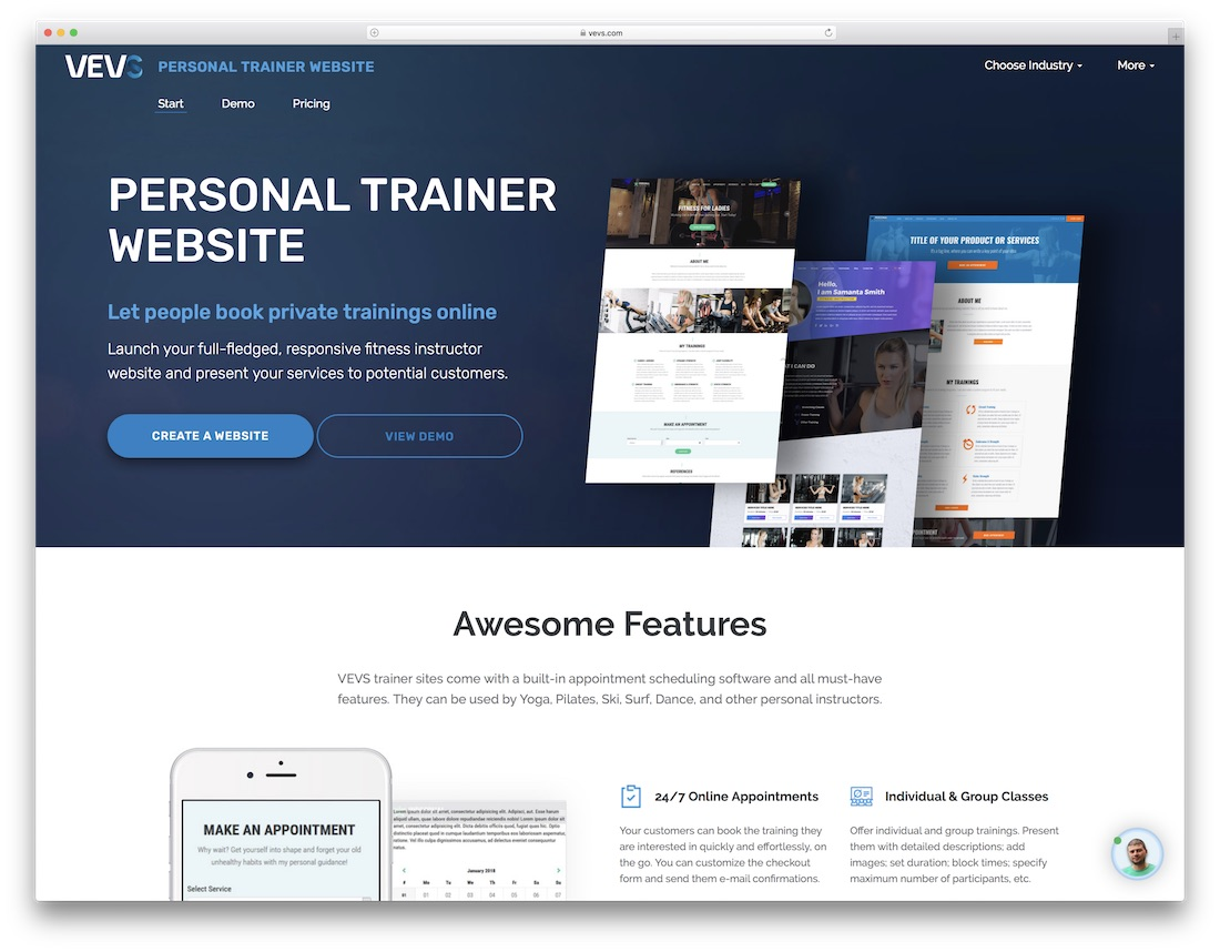 vevs website builder for fitness studio