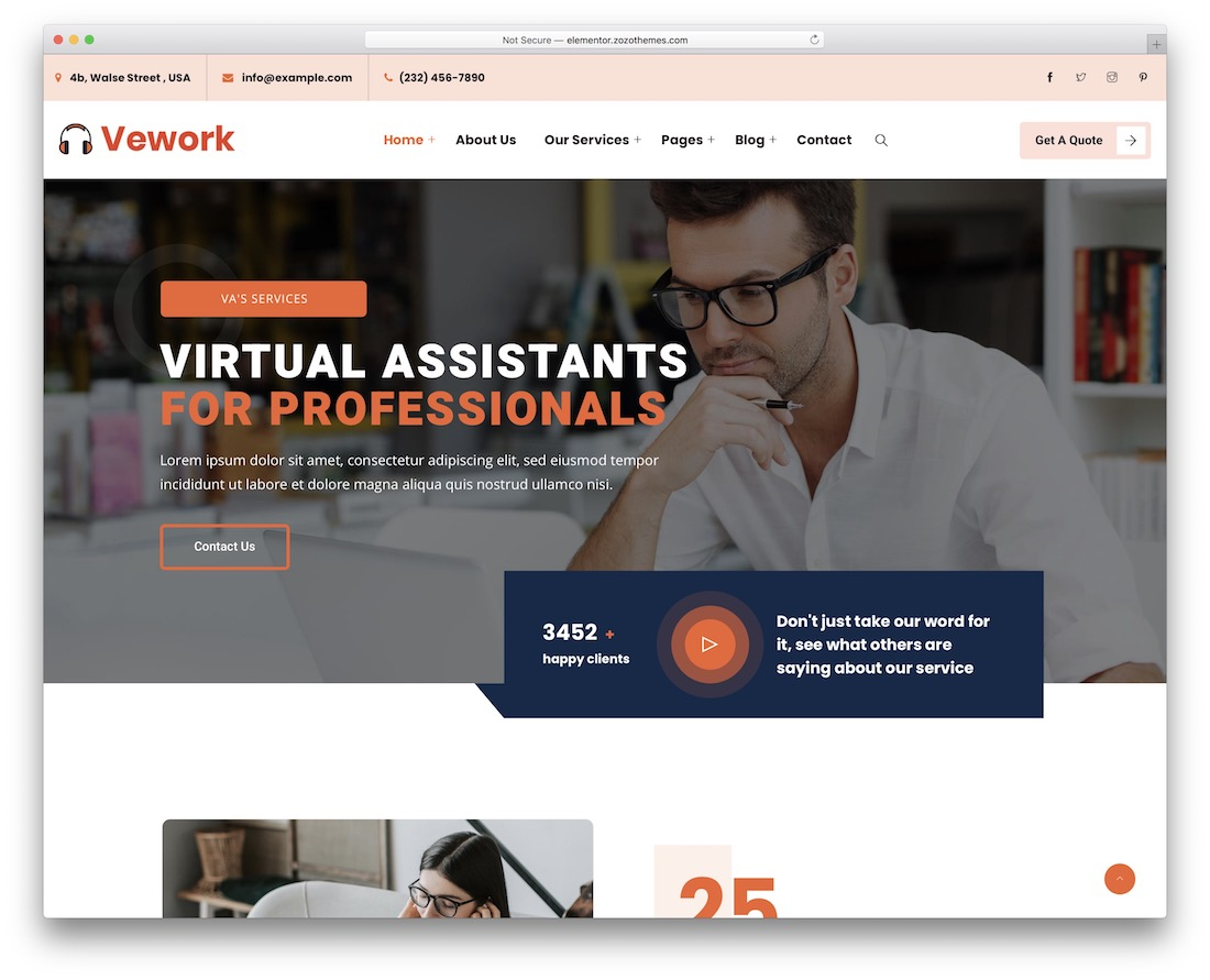 vework virtual assistant wordpress theme