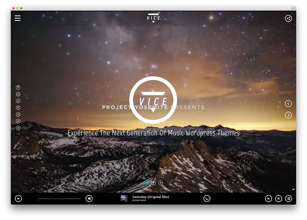 vice fullscreen audio player
