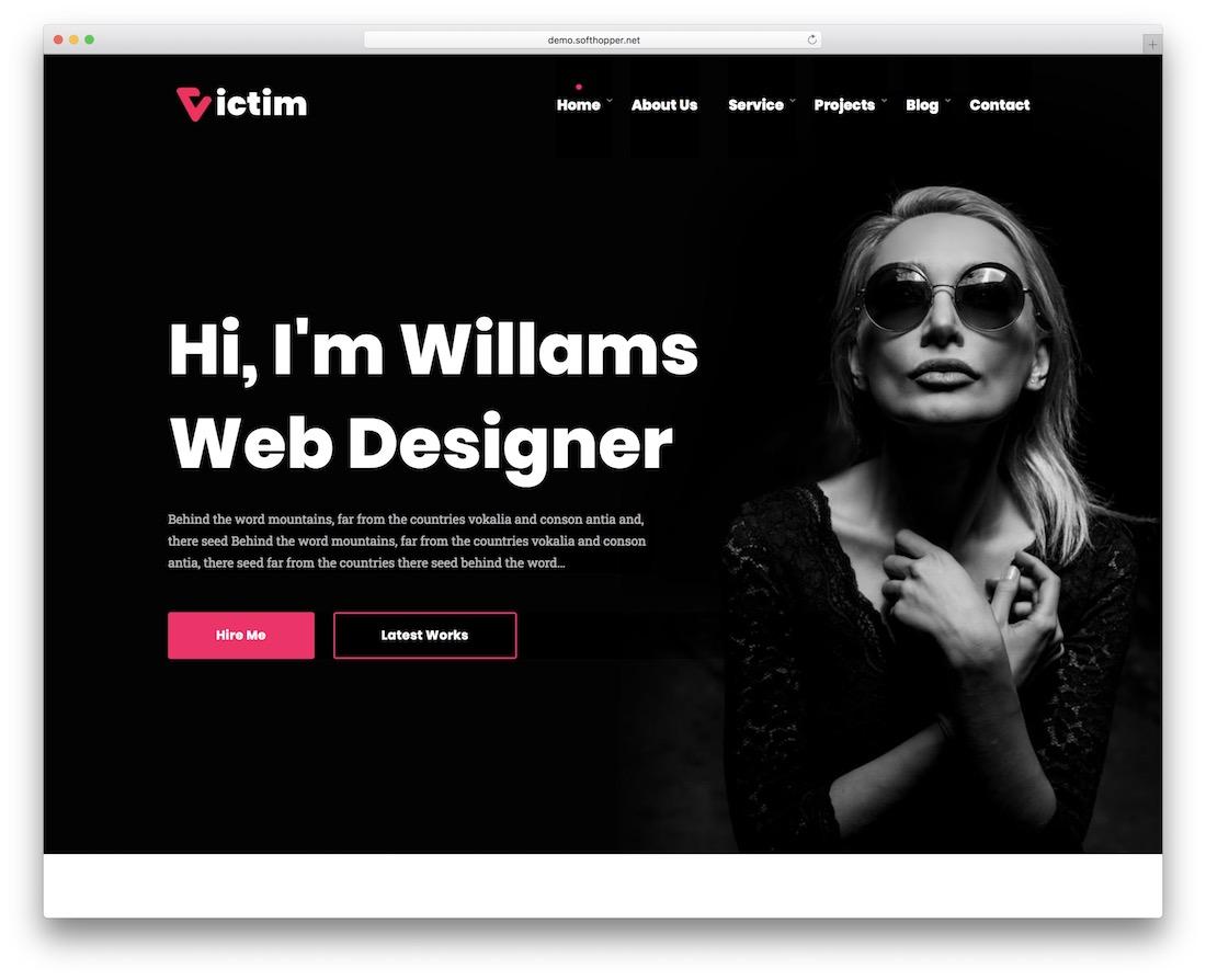 victim portfolio website template