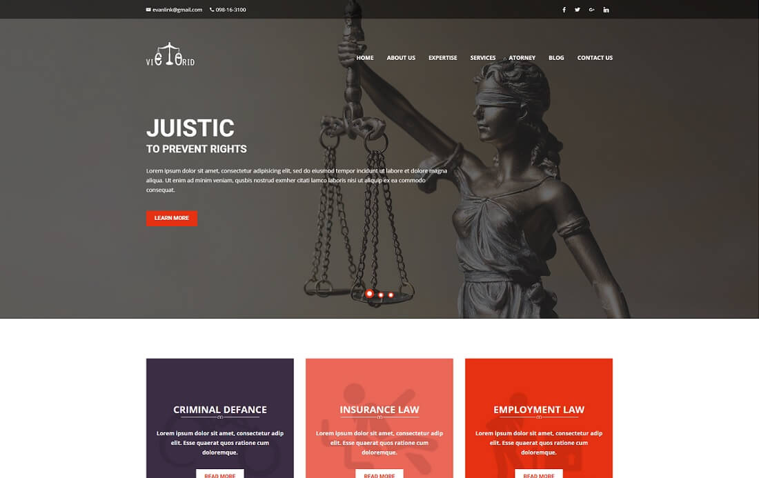 victorid HTML lawyer website template