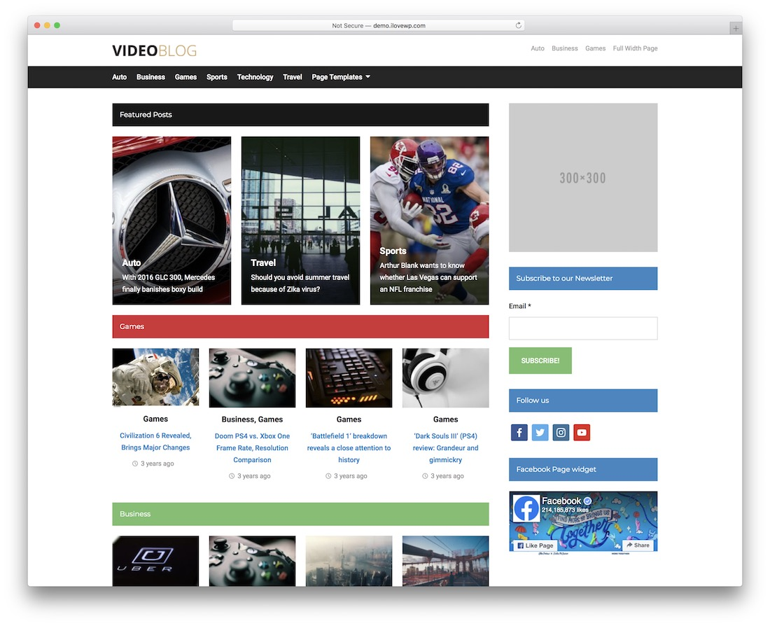 videoblog free wordpress theme