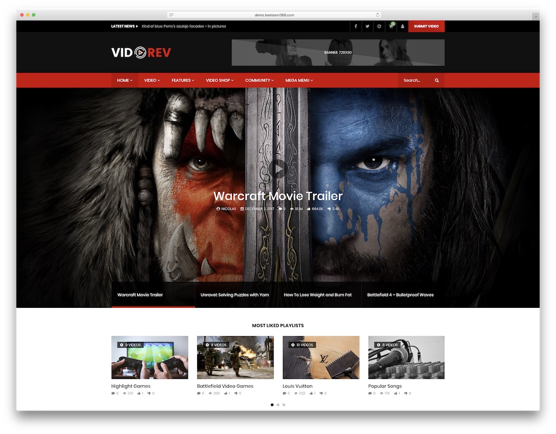 videorev wordpress video theme