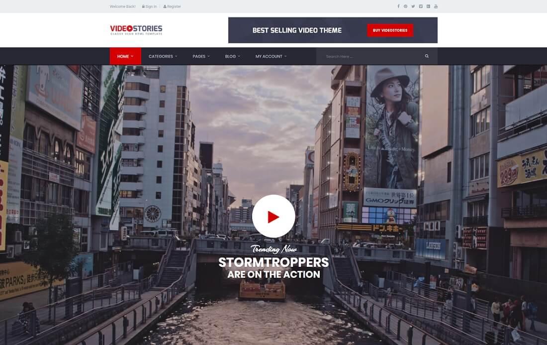 videostories video website template