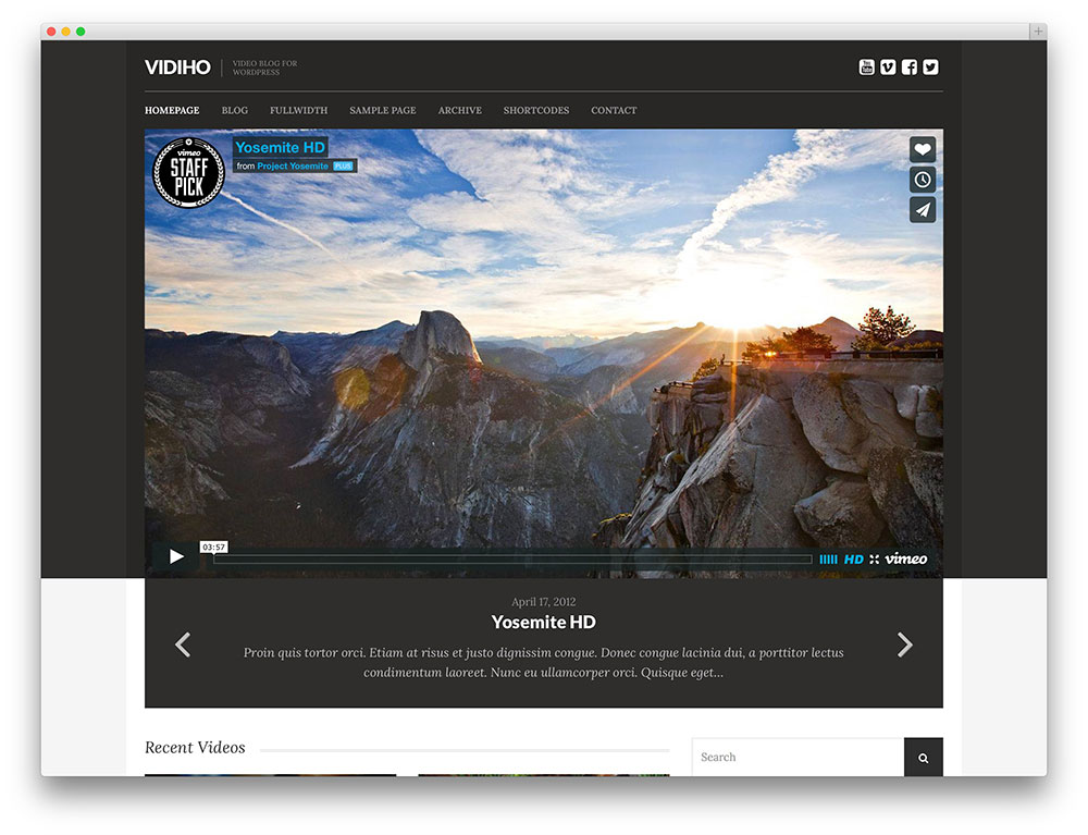 vidiho - minimal video theme
