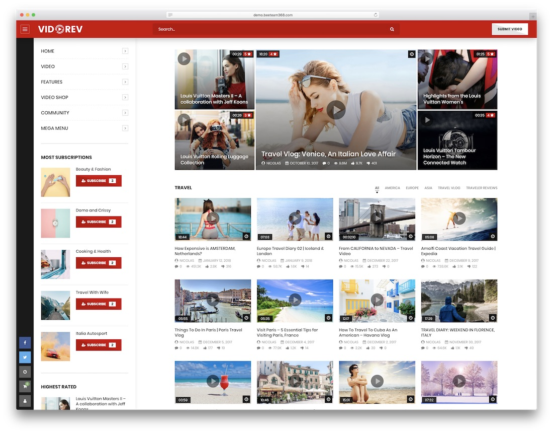 vidorev content sharing wordpress theme