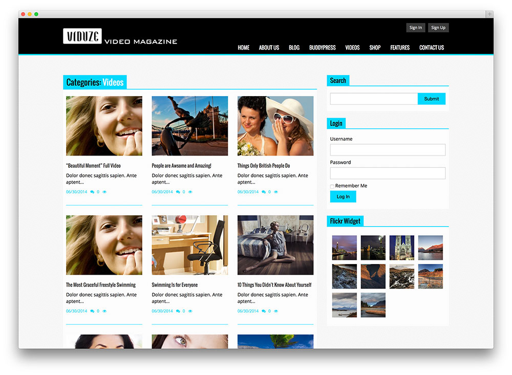 Video Hosting Website Template - video theme