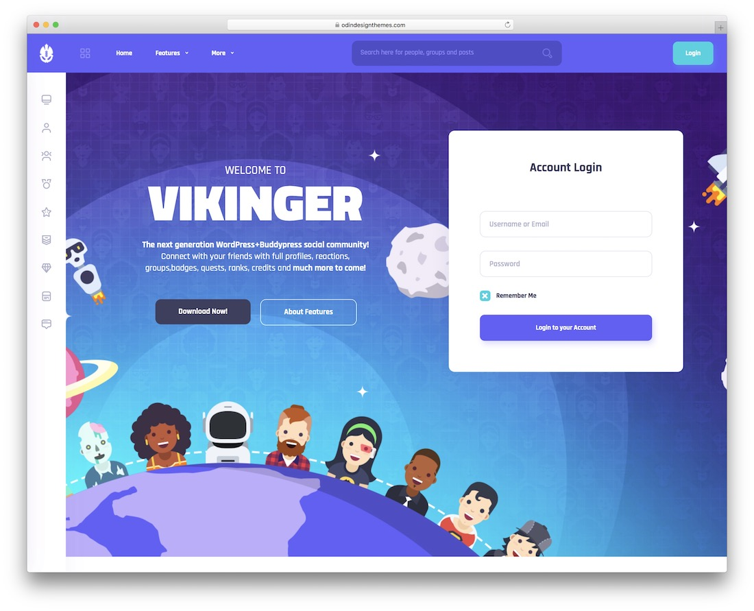 vikinger buddypress wordpress theme