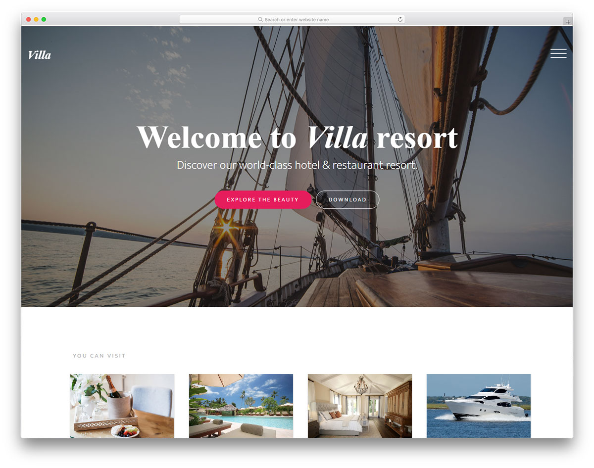 with free travel website template villa it is a guarantee that all your site visitors will quickly turn into loyal clients