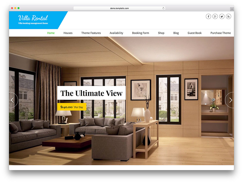 villa rental - luxury WordPress theme