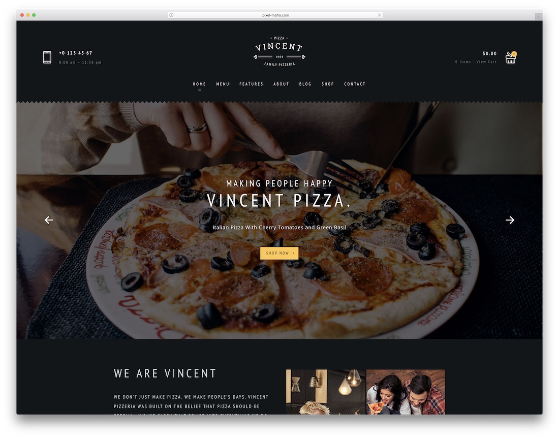 vincent pizza house wordpress theme