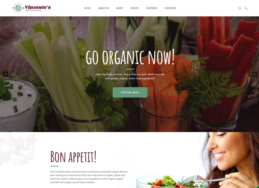 Vincente's | Organic Food Restaurant WordPress Theme