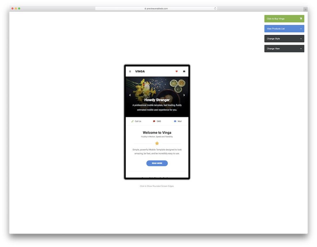 vinga mobile amp template
