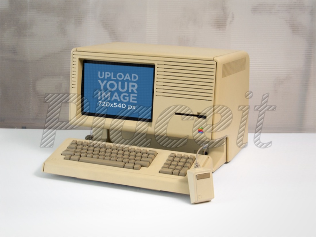 vintage apple lisa computer mockup