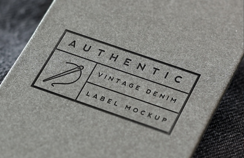 vintage denim label logo mockup