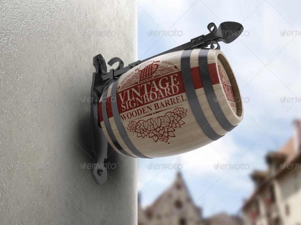 vintage signboard barrel mockup