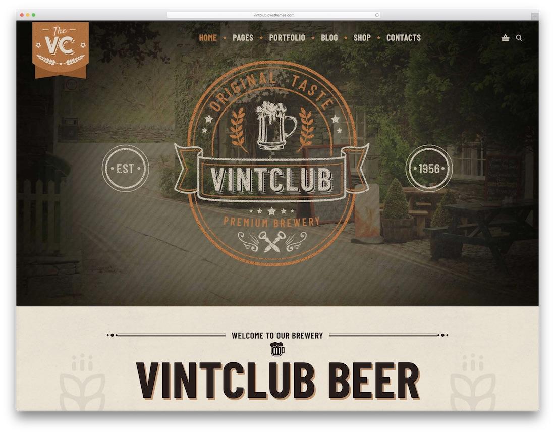 vintclub vintage retro style wordpress theme