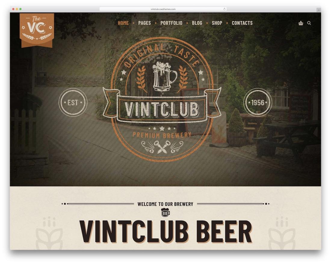 vintclub wordpress theme for bars pubs