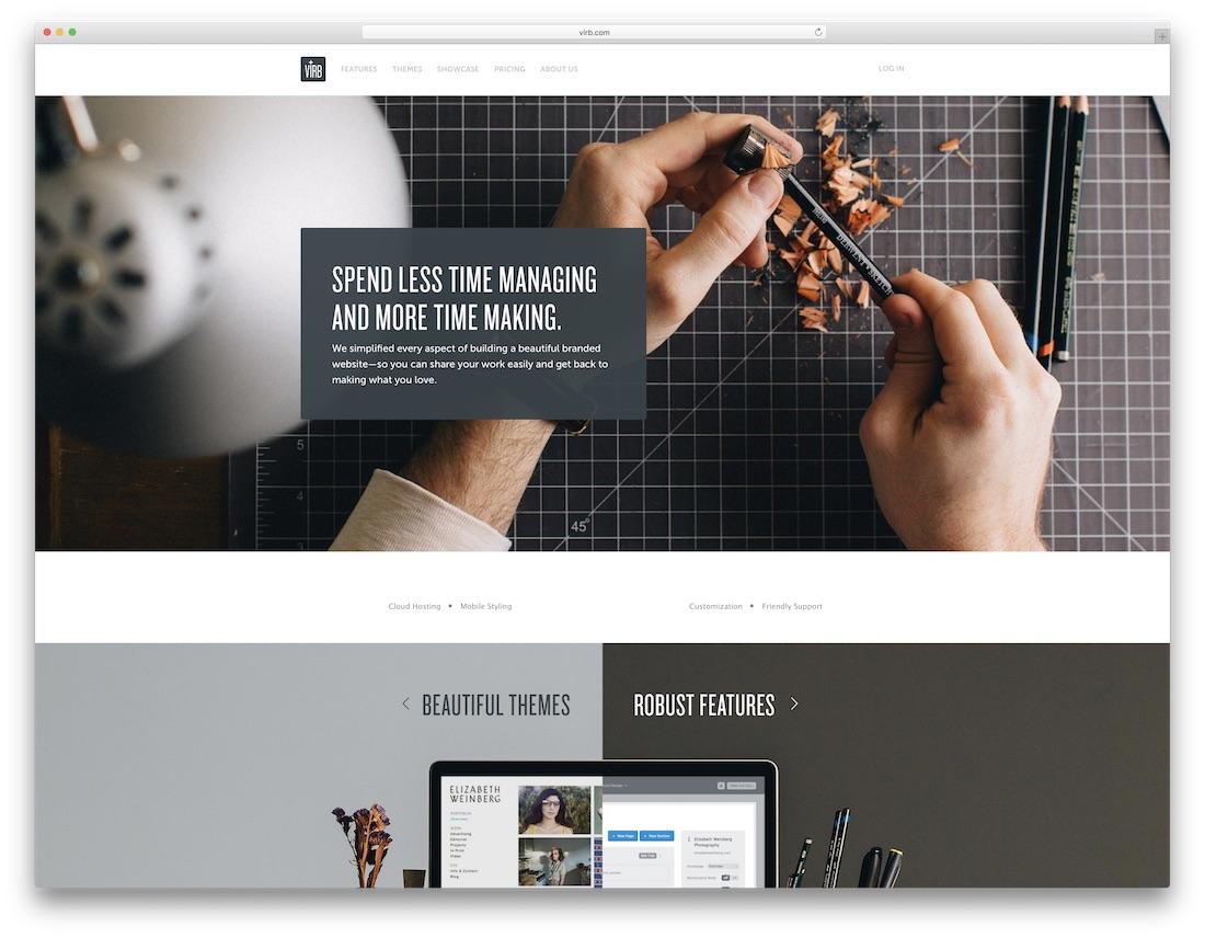 virb best website builder for artists