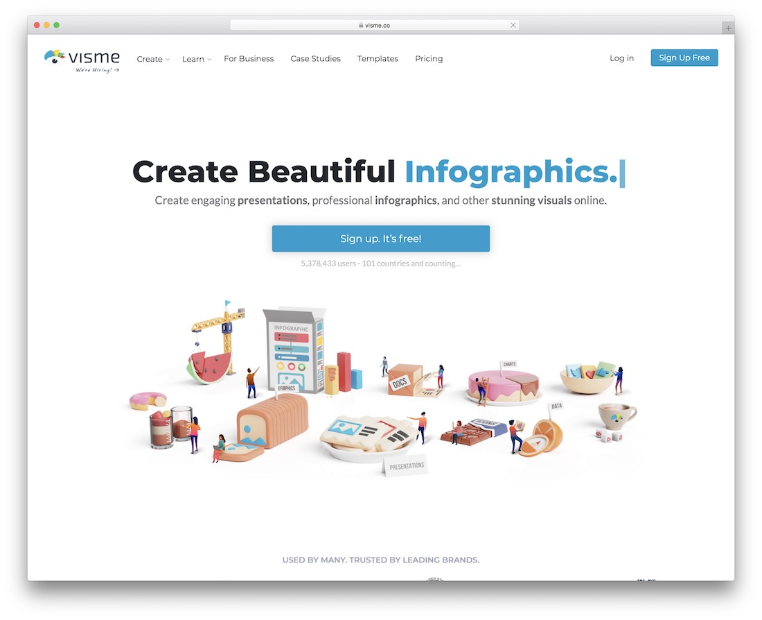 visme tool for creating infographics
