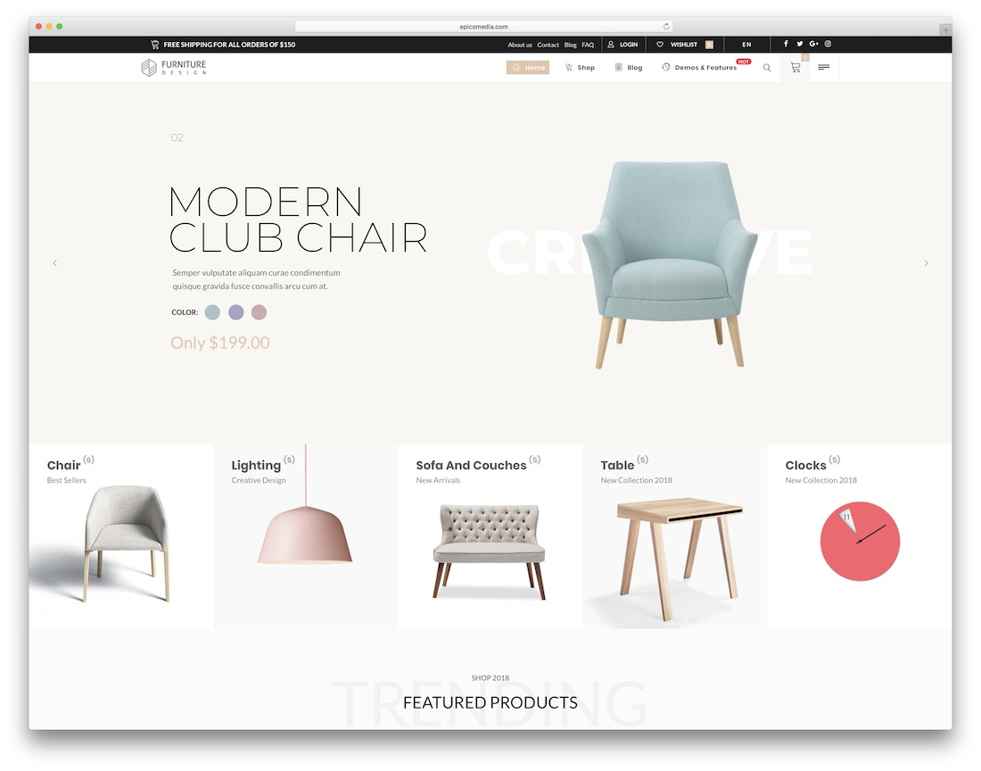 vitrine furniture wordpress theme