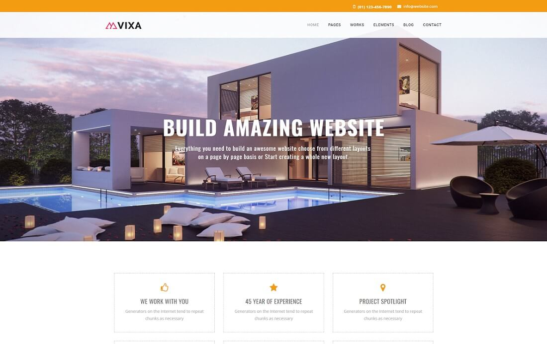 vixa HTML construction company template
