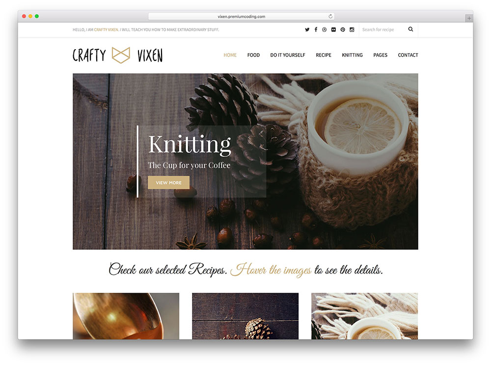 vixen - clean food blog theme