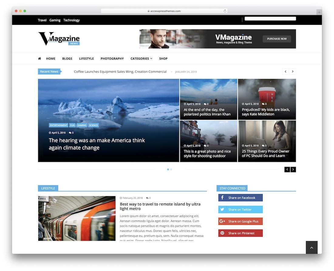 vmagazine news free wordpress theme