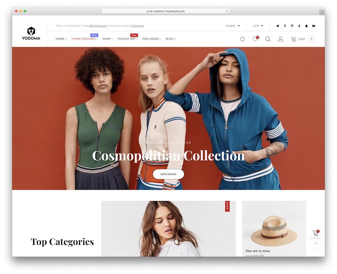 vodoma minimal shopify theme