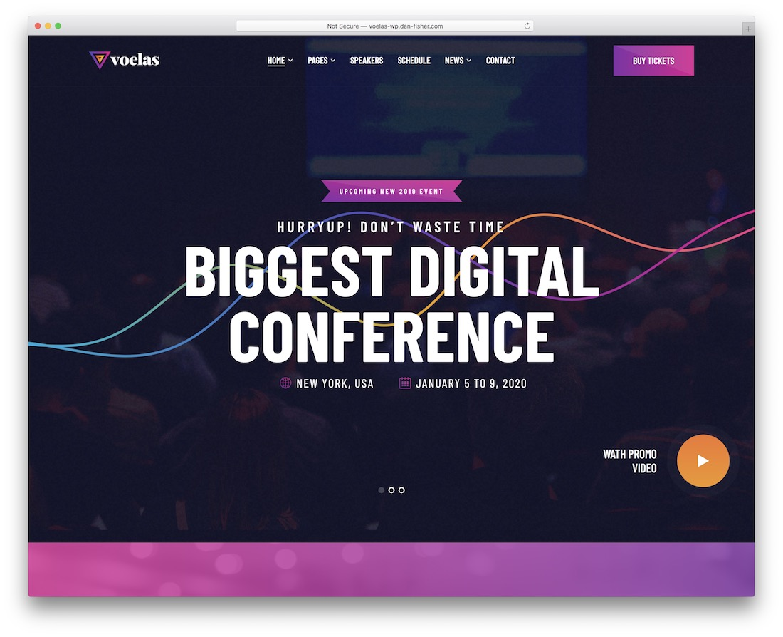 voelas wordpress theme for conference and event