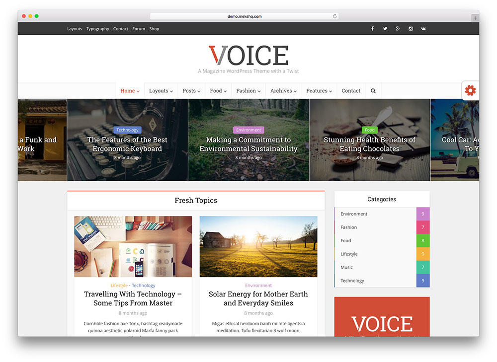 voice - colorful magazine theme