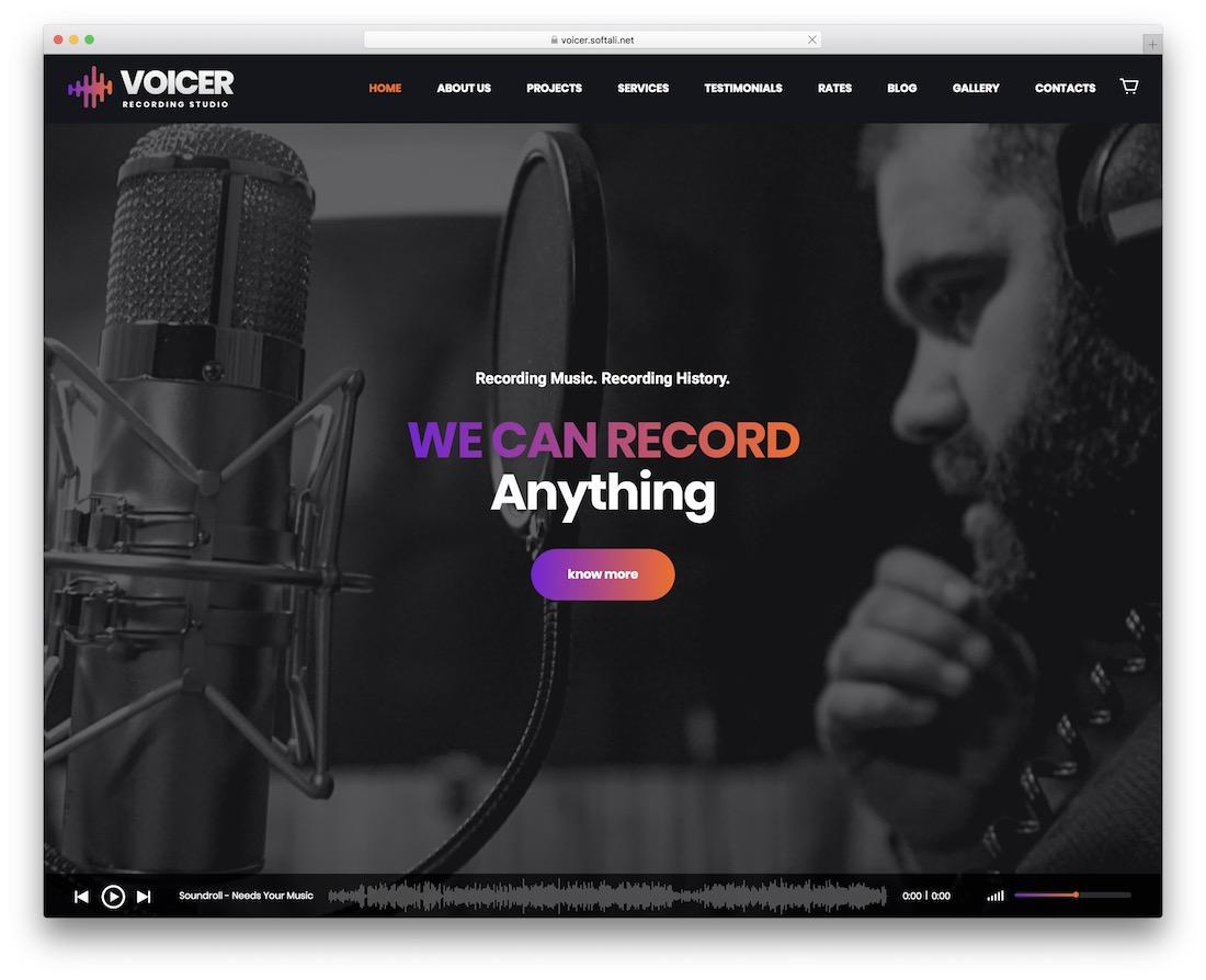 voicer dj wordpress theme