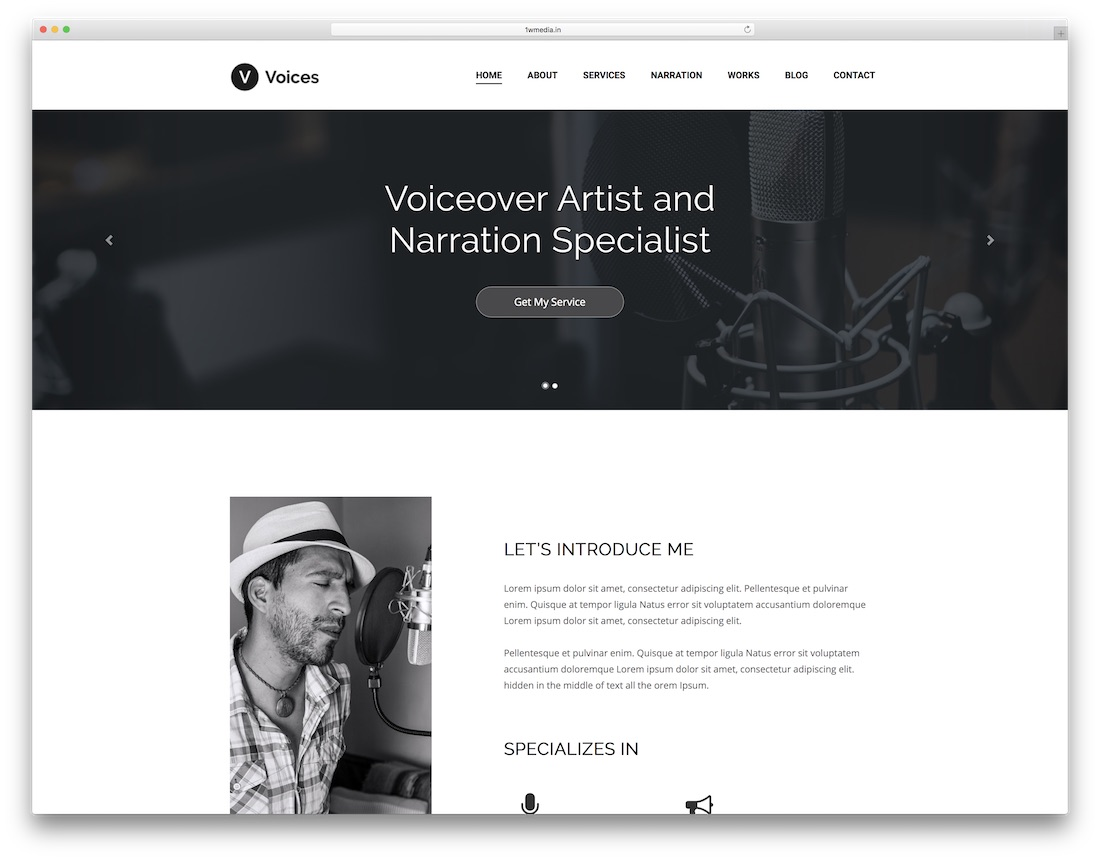 voices artist website template