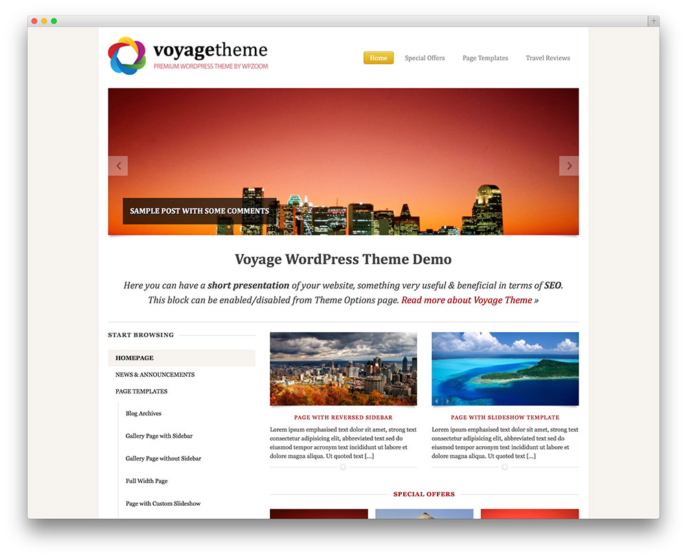 voyage classic travel website template